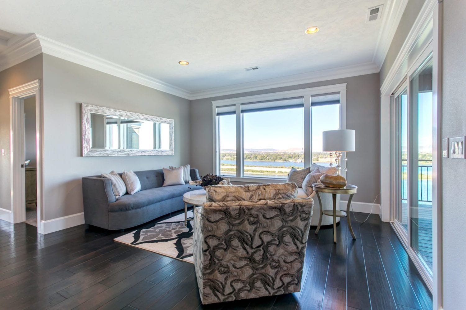 Sitting room with a view of the Columbia River in River Ranch Estates in Pasco, Washington. Prodigy Homes, Inc. is building new construction homes in the Tri-Cities, Washington.