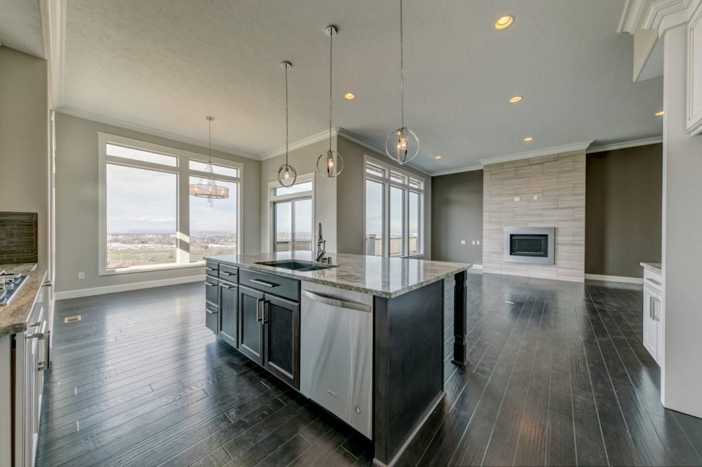 Custom floorplan from Prodigy Homes, Inc. Richland, Washington. Tri-Cities home. Kitchen and Great Room.