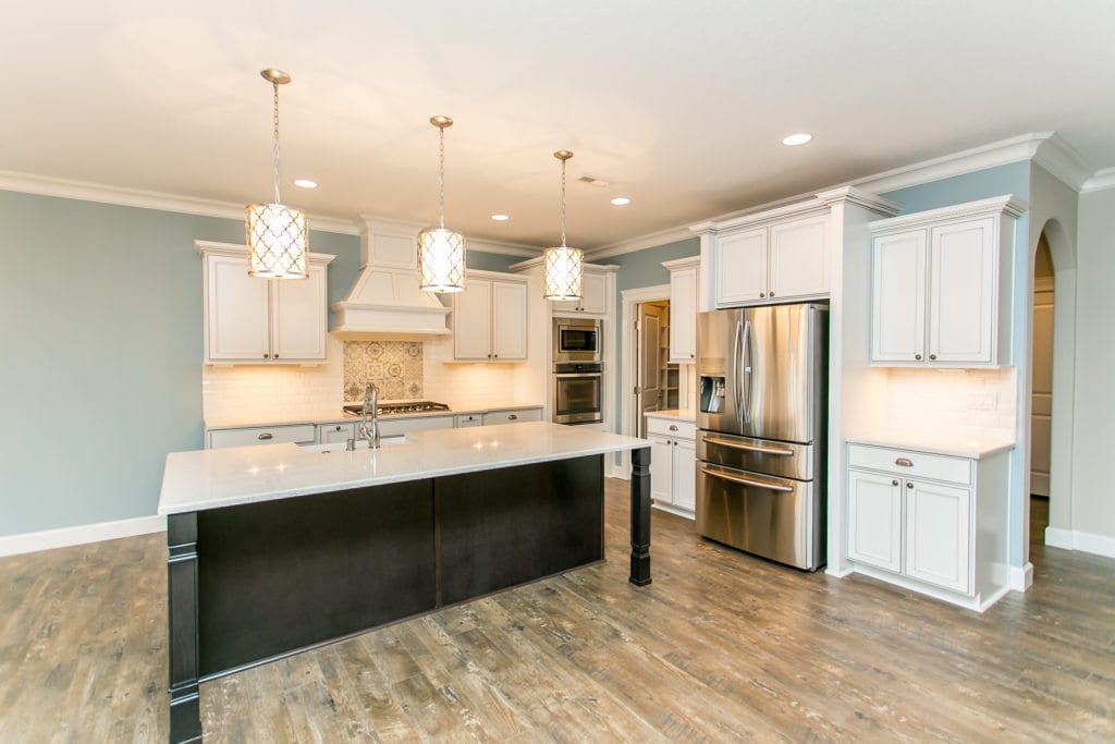 Kitchen trends. White kitchen with duck egg blue walls. Home built in West Richland. Prodigy Homes, Inc. is building new construction homes in the Tri-Cities, Washington.