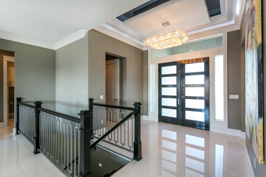 Ceiling trends. Modern entryway with elegant ceiling treatment. Viola home built in Westcliffe neighborhood in Richland, Washington. Prodigy Homes, Inc. is building new construction homes in the Tri-Cities, Washington.