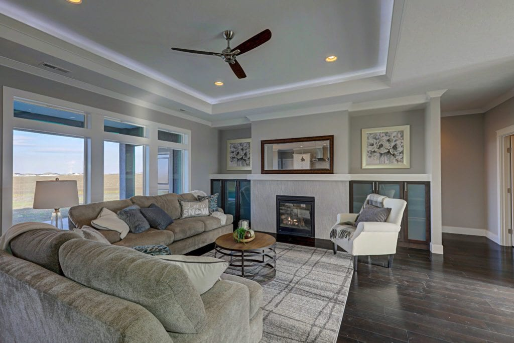 Color trends. Cozy living room with warm colors. Encore home built in Archer Estates neighborhood in Pasco, Washington. Prodigy Homes, Inc. is building new construction homes in the Tri-Cities, Washington.