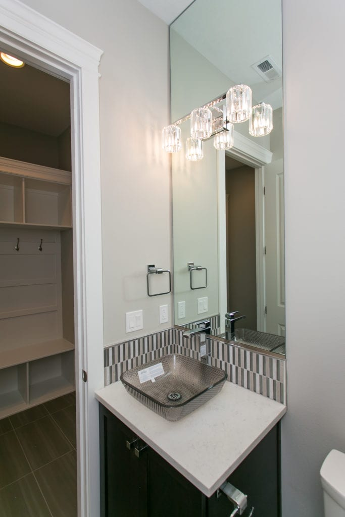 Modern style powder bath in Westcliffe neighborhood in Richland, Washington. Prodigy Homes, Inc. is building new construction homes in Kennewick, Richland, West Richland, and Pasco, Washington.