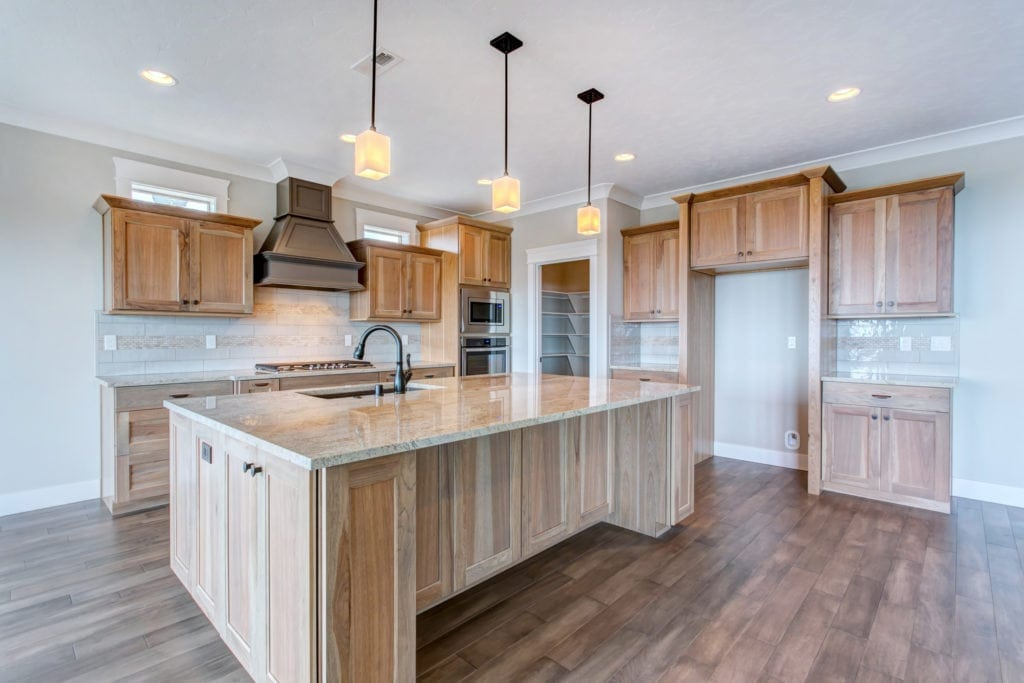 Oasis stained cabinets in Inspiration Estates neighborhood in Kennewick. Prodigy Homes, Inc. is building new construction homes in the Tri-Cities, Washington.