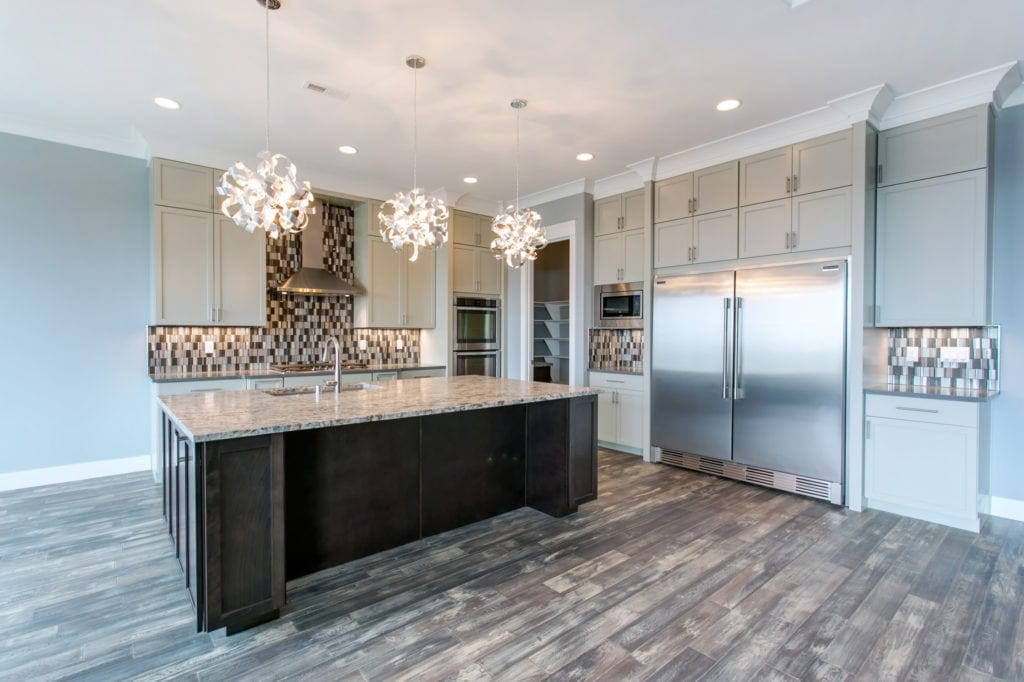 Phantom grey kitchen cabinets in Westcliffe neighborhood in Richland, Washington. Prodigy Homes, Inc. is building new construction homes in the Tri-Cities, Washington.