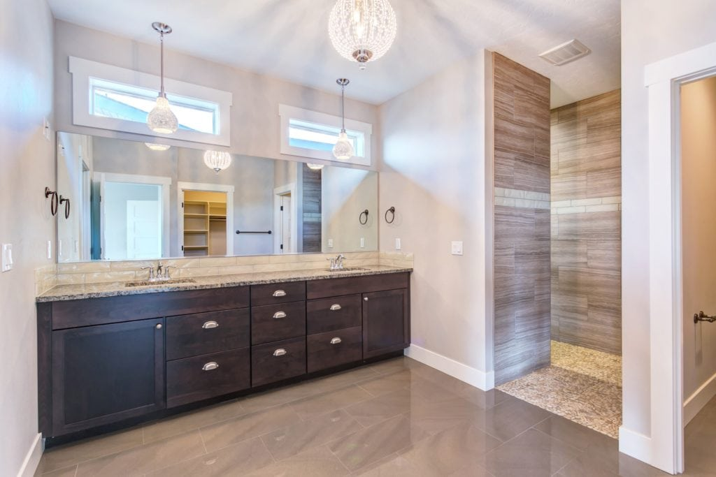 Curbless shower in Southcliffe neighborhood in Kennewick. Prodigy Homes, Inc. is building in Kennewick, Richland, West Richland, and Pasco, Washington.