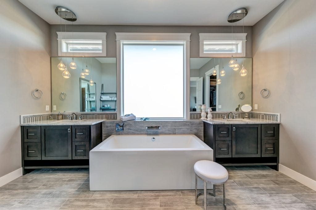 Elegant transitional master bath inspiration. Prodigy Homes is building new construction homes in the Tri-Cities, Washington.