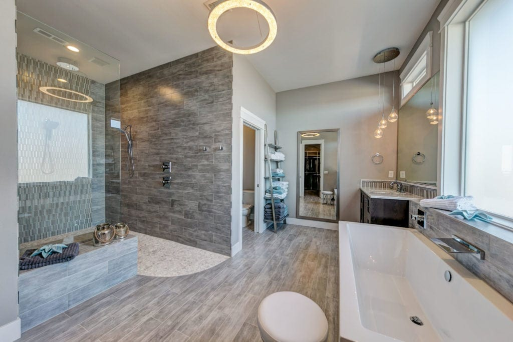 Transitional master bathroom inspiration. Lighting. Prodigy Homes, Inc. is building new construction homes in the Tri-Cities, Washington.