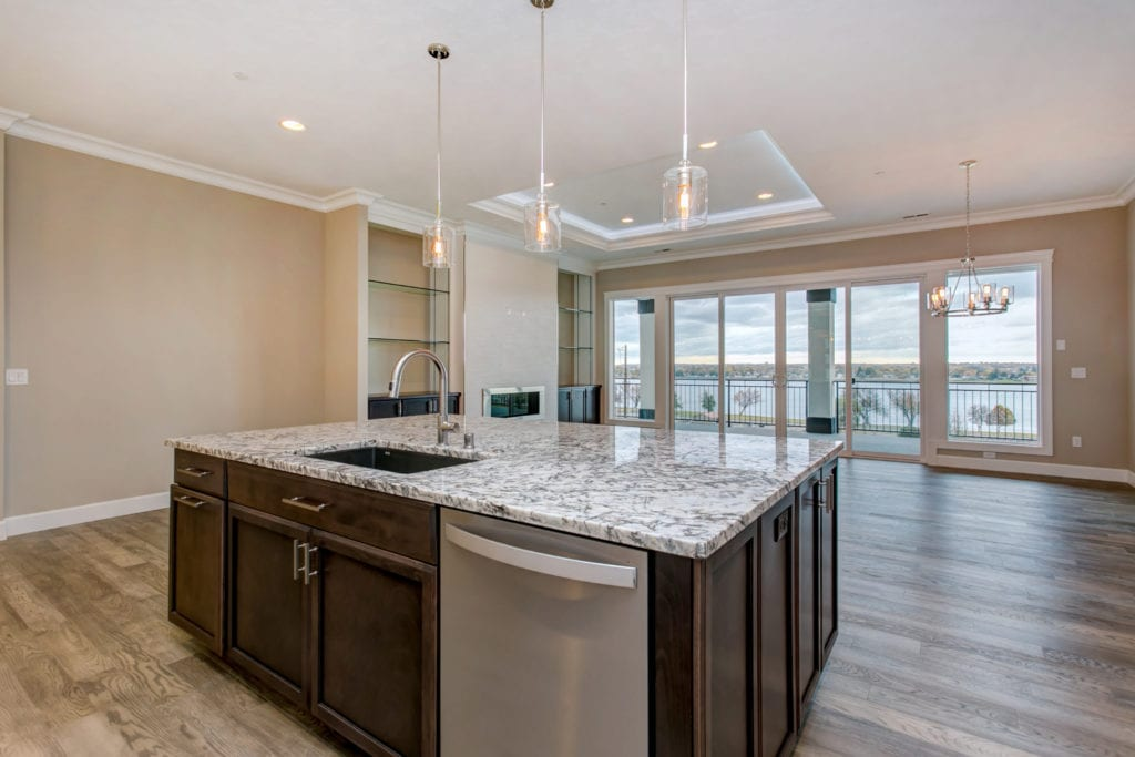 Modern kitchen with beautiful river view. New home in Kennewick, built from the Medley floorplan. Prodigy Homes, Inc. is building new construction homes in the Tri-Cities, Washington. Kennewick, Richland, West Richland, and Pasco.